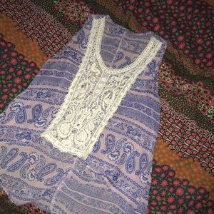 Boho tank top with crochet detail